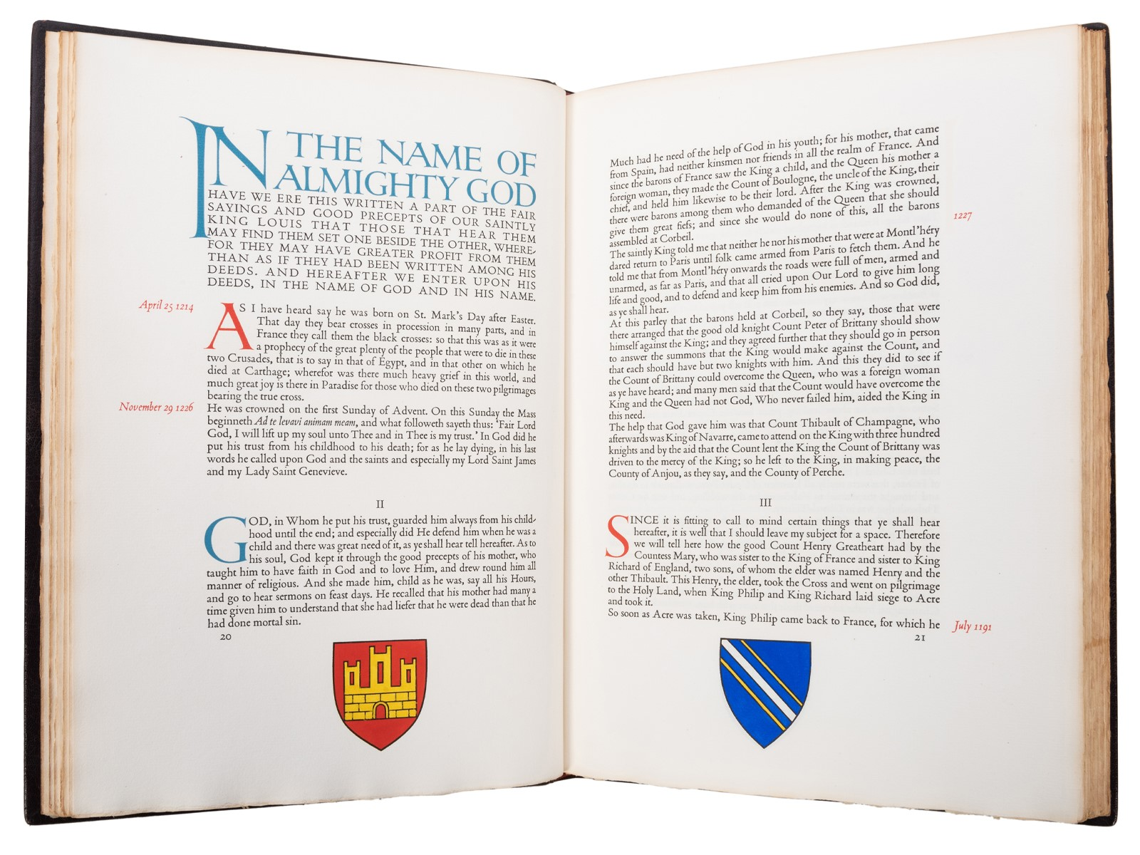Lord John Joinville's The History of Saint Louis from the Gregynog Press