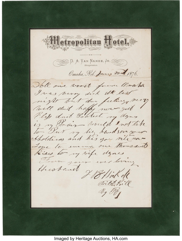 Bidders Pursued Campaign Banner & Wild Bill Hickok Love Letter at
