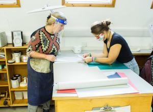 West Dean College bookbinders at work