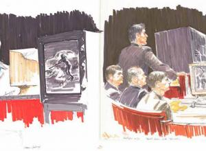 Courtroom sketches by artist Mary Chaney during the Rodney King police brutality trials.