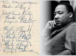 Martin Luther King Jr.-signed jail logbook pages