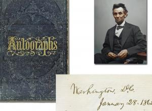 Victorian autograph album containing the signature of Abraham Lincoln