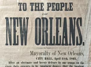 New Orleans Confederate broadside from 1862