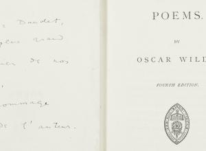 Poems by Oscar Wilde inscribed to Alphonse Daudet