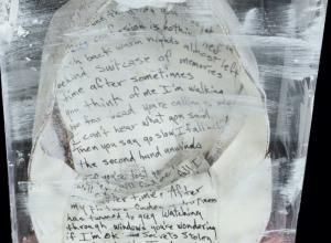 "Handwritten lyrics of ""Time After Time"" art piece created by Cyndi Lauper"