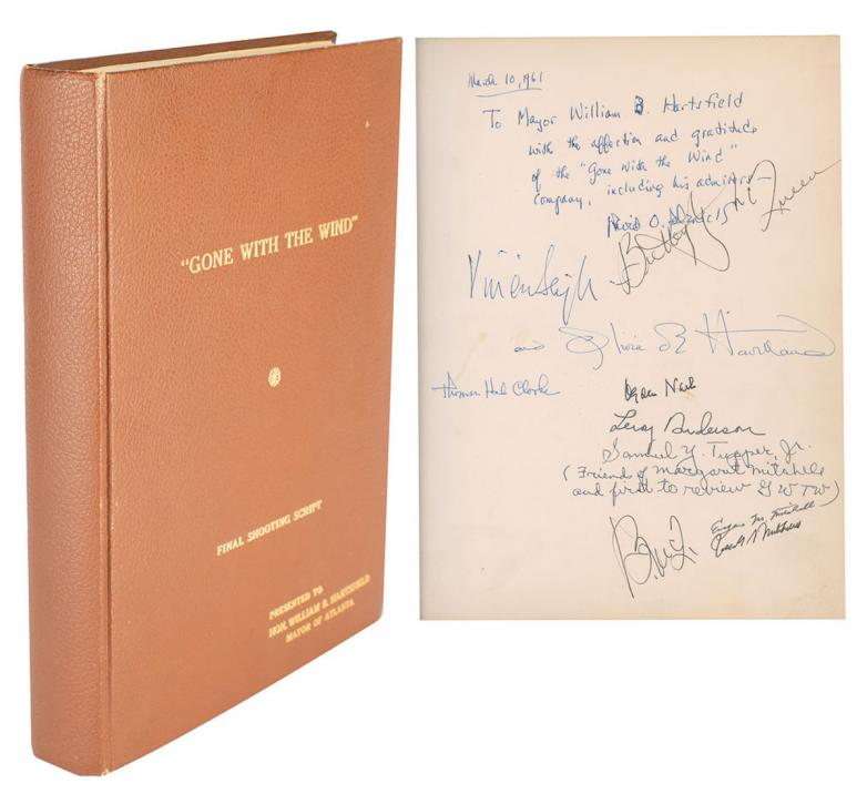 Atlanta Mayor William Hartsfield's Cast-Signed Script of Gone With the Wind. Estimate: $3,000+
