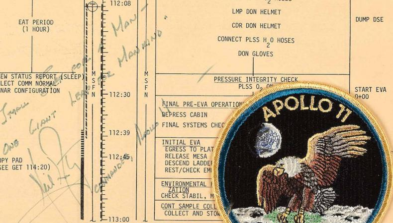 Apollo 11 crew patch and flight plan