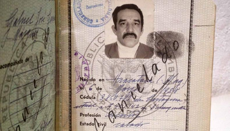 One of Gabriel García Márquez's passports is on exhibit at the Ransom Center in Austin, Texas.