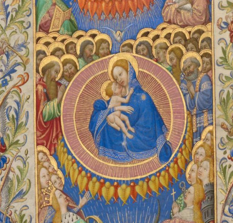 The Celestial Virgin and Child, about 1420. Tempera colors, gold, and ink on parchment.