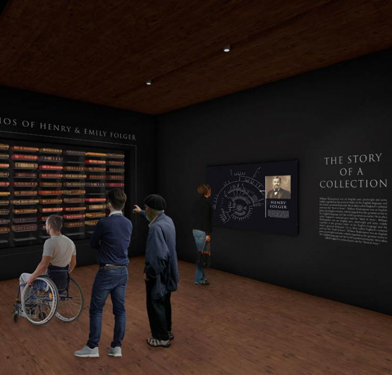 Concept design of the First Folio gallery, courtesy of the Folger Shakespeare Library