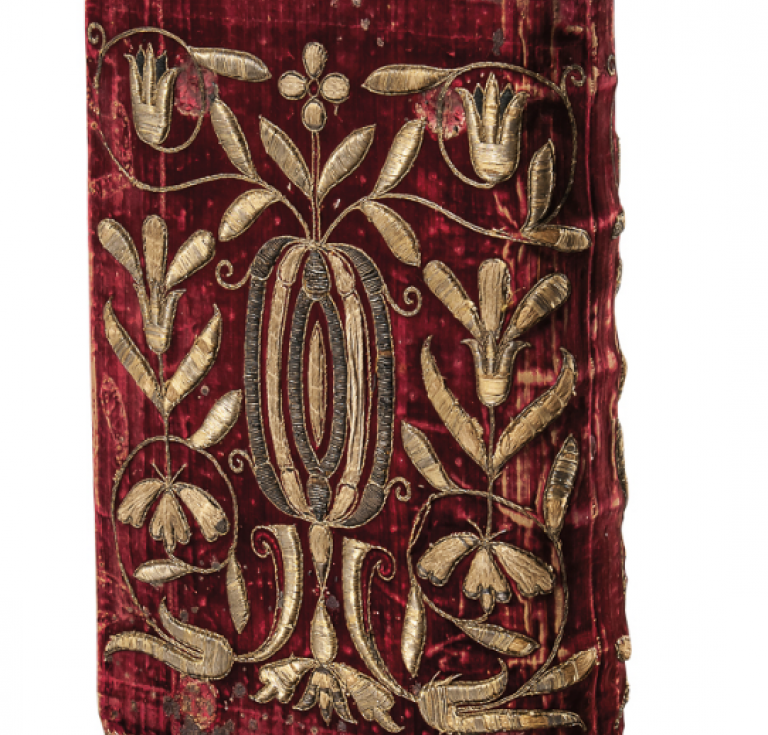 1610 Antwerp Missale Romanum in embroidered velvet binding, offered at Skinner this week.