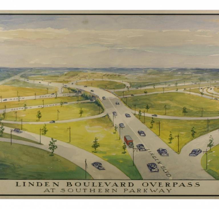 Linden Boulevard watercolor