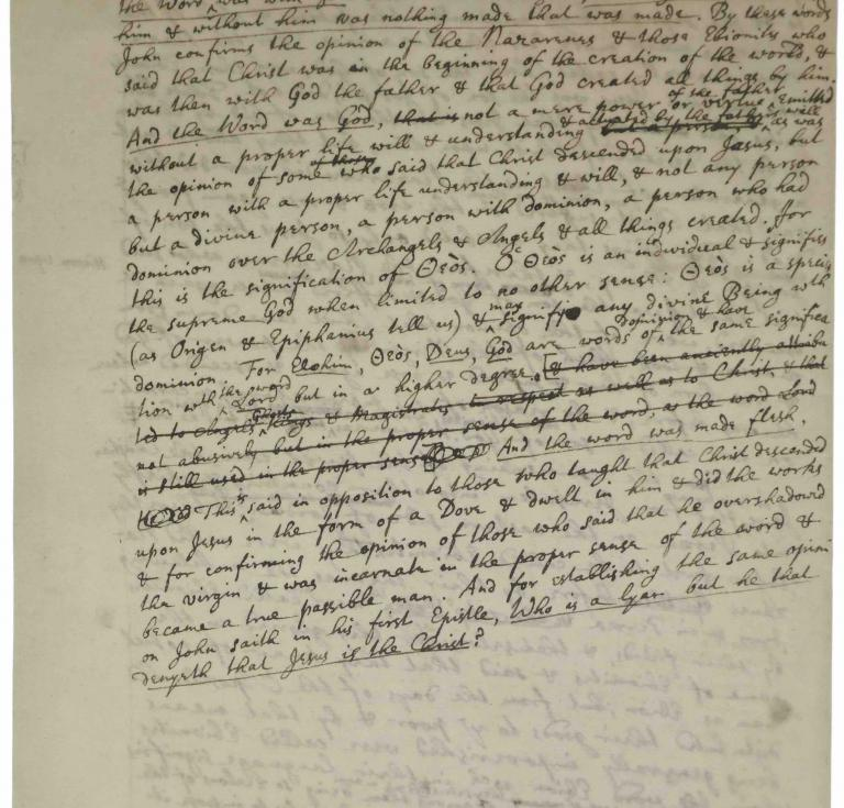 Newton manuscript on God