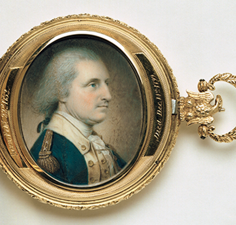 watercolor miniature of George Washington