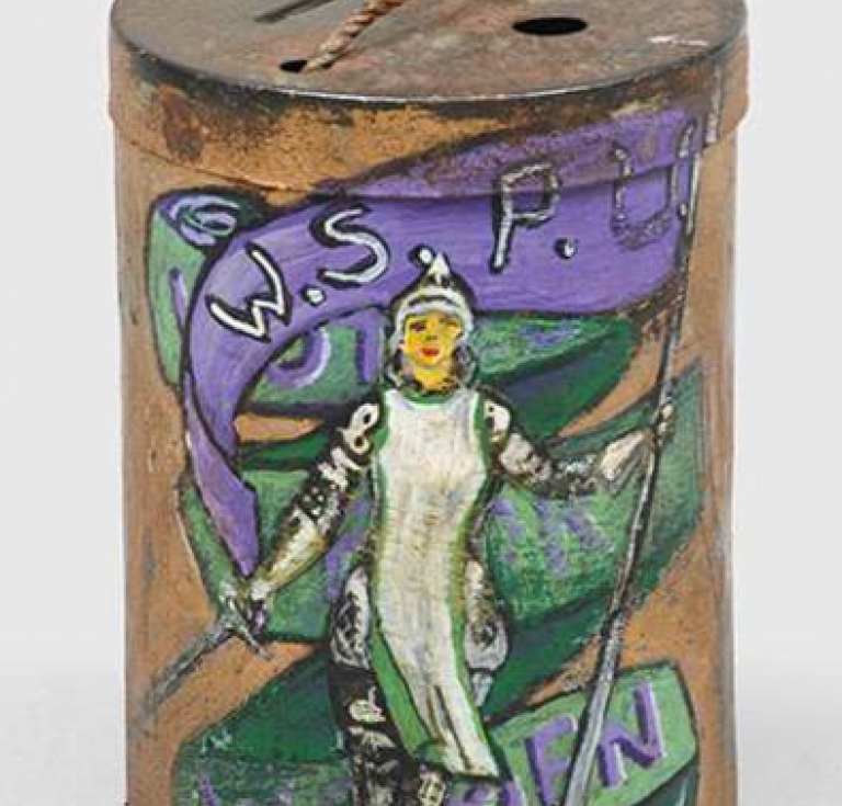 A hand-painted women's suffrage donation tin