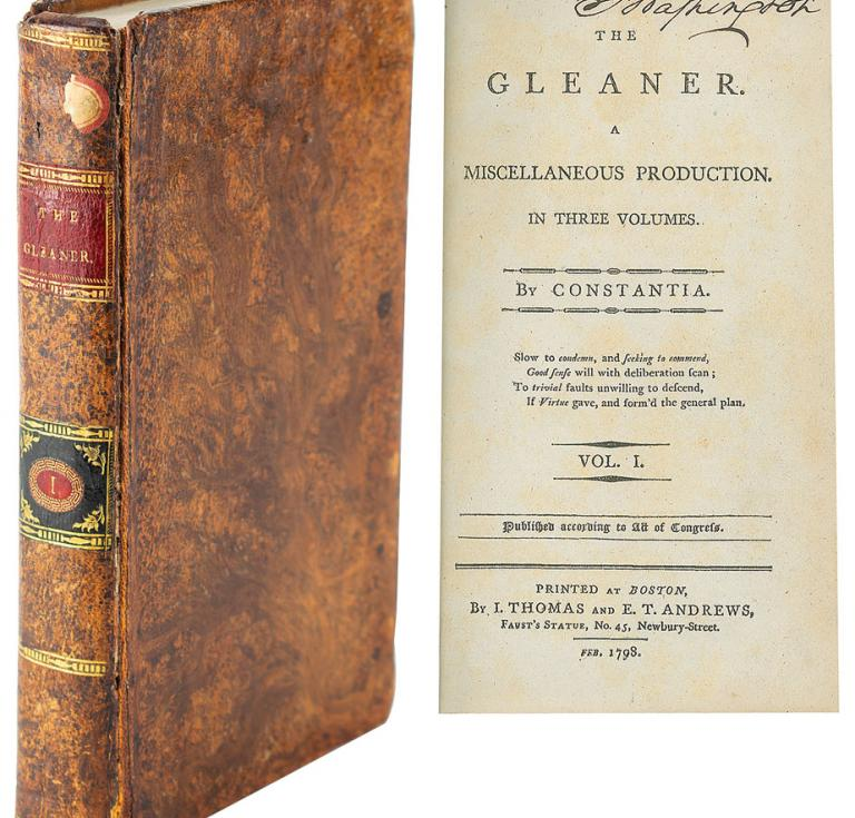George Washington signed book, The Gleaner