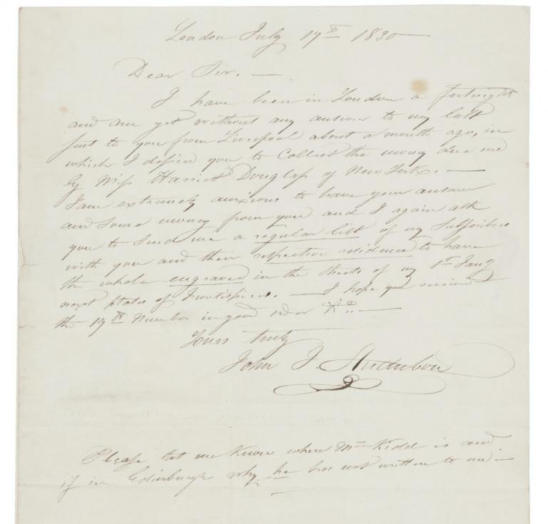 Audubon letter to bookseller