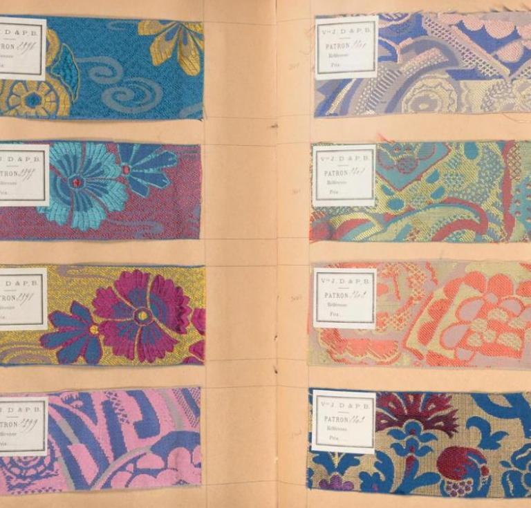 French fabric sample book, ca. 1930s