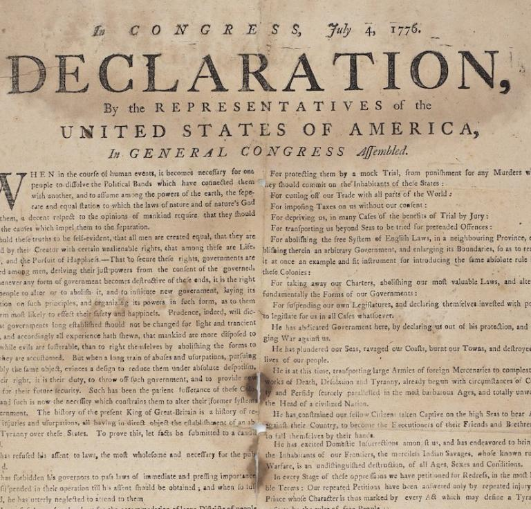 Contemporary broadside edition of the Declaration of Independence