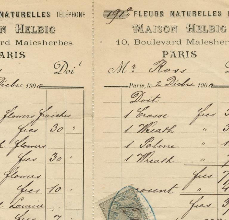 The bill for flowers at Oscar Wilde's funeral