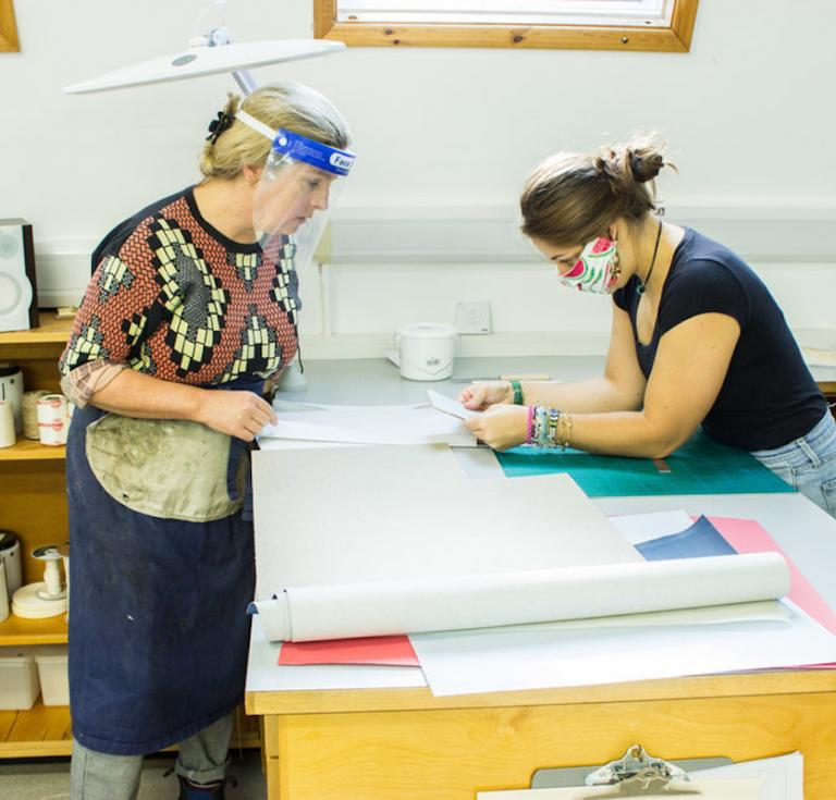 West Dean College bookbinders at work