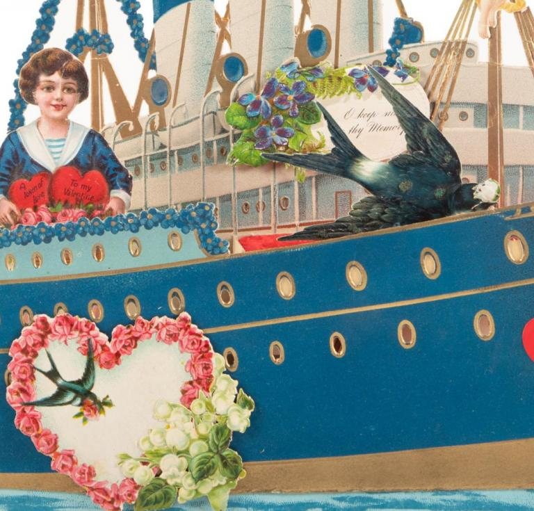 A ship-shaped valentine from the late nineteenth or early twentieth century