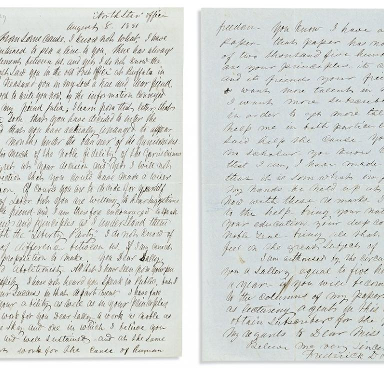 Frederick Douglass, Autograph Letter Signed, to Sallie Holley