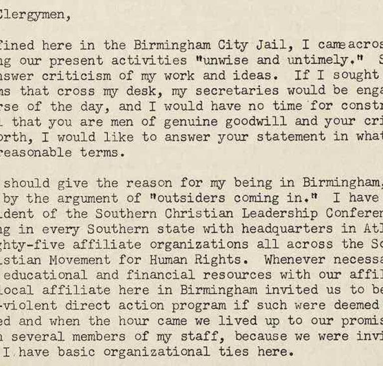 Dr. Martin Luther King, Jr., an early draft of the Letter from Birmingham Jail, 1963